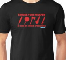 Zombie Apocalypse Choose Your Weapon Unisex T-Shirt
