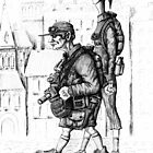 Tourists ink pen drawing by Vitaliy Gonikman