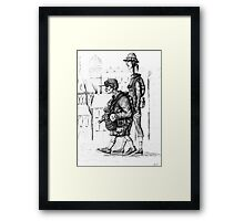 Tourists ink pen drawing Framed Print