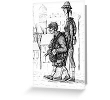 Tourists ink pen drawing Greeting Card
