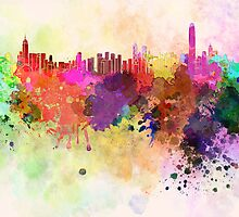Hong Kong skyline in watercolor background by Pablo Romero