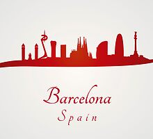 Barcelona skyline in red and gray background by Pablo Romero