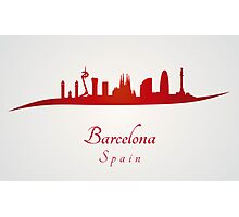 Barcelona skyline in red and gray background Photographic Print