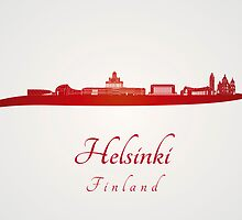 Helsinki skyline in red and gray background by Pablo Romero
