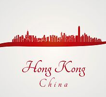 Hong Kong skyline in red and gray background by paulrommer