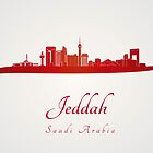 Jeddah skyline in red and gray background by Pablo Romero