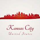 Kansas City skyline in red and gray background by Pablo Romero