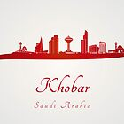 Khobar skyline in red and gray background by Pablo Romero