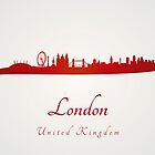 London skyline in red and gray background by Pablo Romero