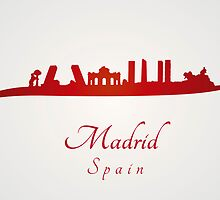 Madrid skyline in red and gray background by paulrommer