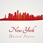 New York skyline in red and gray background by paulrommer