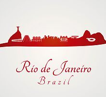 Rio de Janeiro skyline in red and gray background by paulrommer