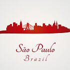 Sao Paulo skyline in red and gray background by paulrommer