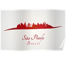 Sao Paulo skyline in red and gray background Poster
