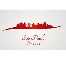Sao Paulo skyline in red and gray background Photographic Print