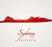 Sydney skyline in red and gray background by Pablo Romero