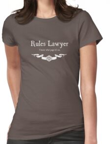 DnD Rules Lawyer - for Dark Shirts Womens Fitted T-Shirt