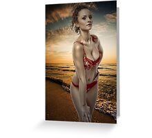 Gorgeous woman on the beach Greeting Card