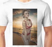 Gorgeous woman on the beach Unisex T-Shirt