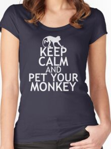 KEEP CALM AND PET YOUR MONKEY Women's Fitted Scoop T-Shirt