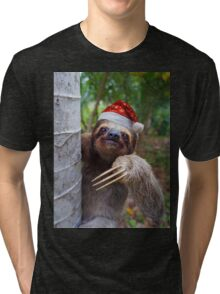 Christmas animal sloth wearing santa hat Tri-blend T-Shirt