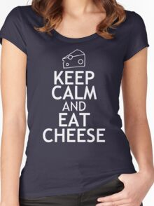 KEEP CALM AND EAT CHEESE Women's Fitted Scoop T-Shirt