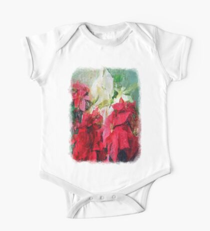Mixed color Poinsettias 3 Sketchy One Piece - Short Sleeve