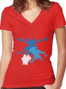 Froakie Frogadier Greninja Women's Fitted V-Neck T-Shirt