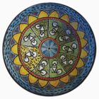 Bicycle Mandala in Blue Green and Yellow by KFStudios