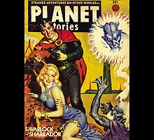 Retro pulp science fiction comic cover - Planet Stories by Jeff East