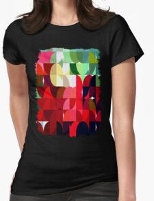Mixed color Poinsettias 3 Abstract Circles 1 Womens Fitted T-Shirt