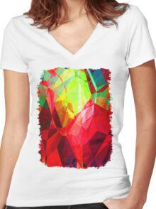 Mixed color Poinsettias 3 Abstract Polygons 1 Women's Fitted V-Neck T-Shirt