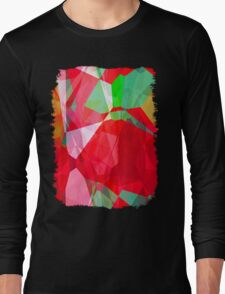 Mixed color Poinsettias 3 Abstract Polygons 2 Long Sleeve T-Shirt