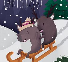 Christmas Reindeer Sledging On A Snowy Hill by Claire Stamper