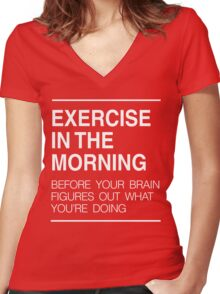 Exercise in the morning Women's Fitted V-Neck T-Shirt