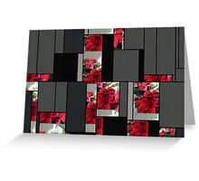 Mixed color Poinsettias 3 Art Rectangles 7 Greeting Card