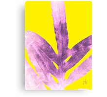 Green Fern on Bright Yellow Inverted Canvas Print