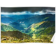 Mountain landscape on a cloudy summer day Poster