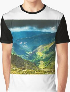 Mountain landscape on a cloudy summer day Graphic T-Shirt