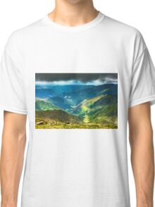 Mountain landscape on a cloudy summer day Classic T-Shirt