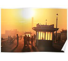 Hove seafront at sunset Poster