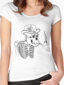 black and white skeleton of gorilla smoking pipe and wearing hat with flower Women's Fitted Scoop T-Shirt