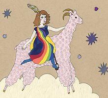 The Rainbow-girl Rides the Drallamaram by Erika Rier