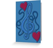 Blue My Heart's Plugged In To Music Greeting Card