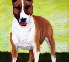 Bull Terrier Dog Portrait by Oldetimemercan