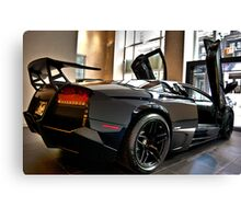 Black Lamborghini Rear View Canvas Print