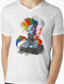 Rainbow PonyROCK Mens V-Neck T-Shirt