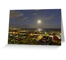 Full super moon ocean rising over Manly NSW Australia Greeting Card