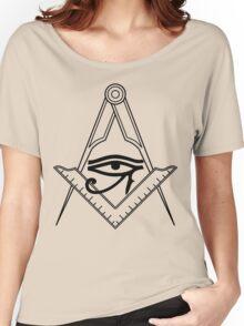 Illuminati Eye Masonic Compass Symbol Women's Relaxed Fit T-Shirt