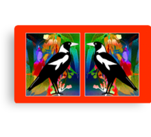 Stained Glass Magpies Canvas Print